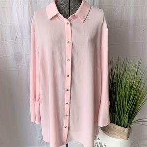 LAURA Plus Ruffle Sleeve Tunic Blouse Pink Size 20